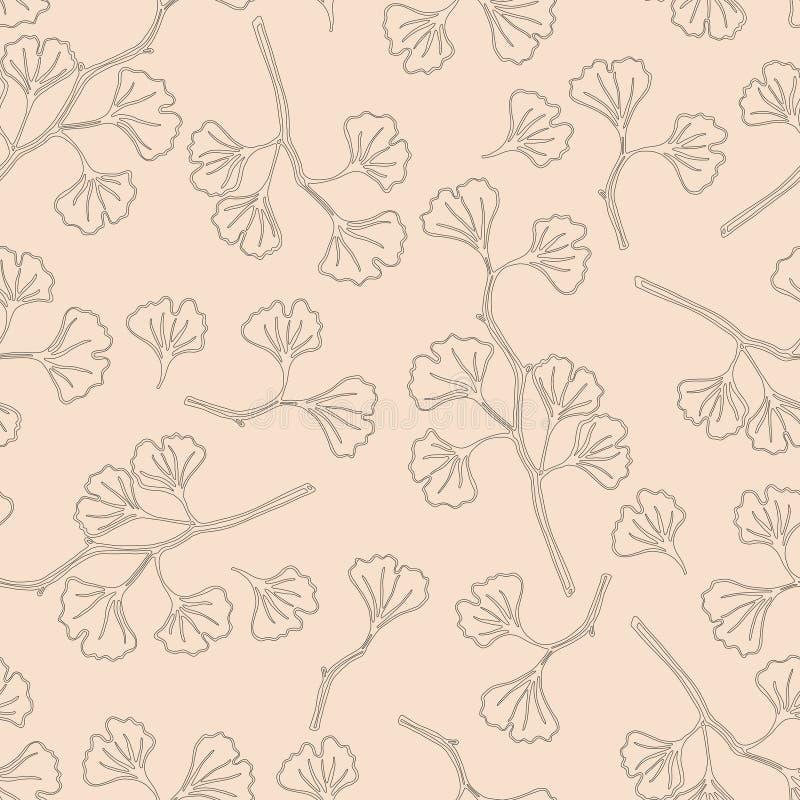 вектор картины безшовный Чувствительные ветви гинкго с листьями Handmade черно-белая картина на винтажном розовом backgr иллюстрация вектора