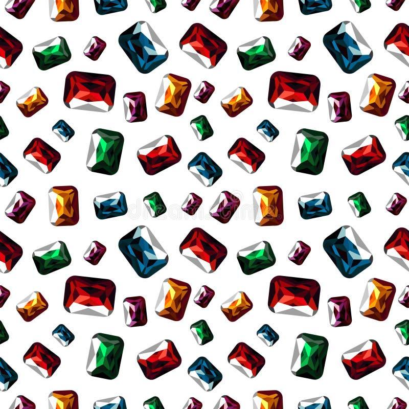 вектор картины безшовный Яркая хаотическая предпосылка с самоцветами крупного плана красочными на белом фоне иллюстрация штока