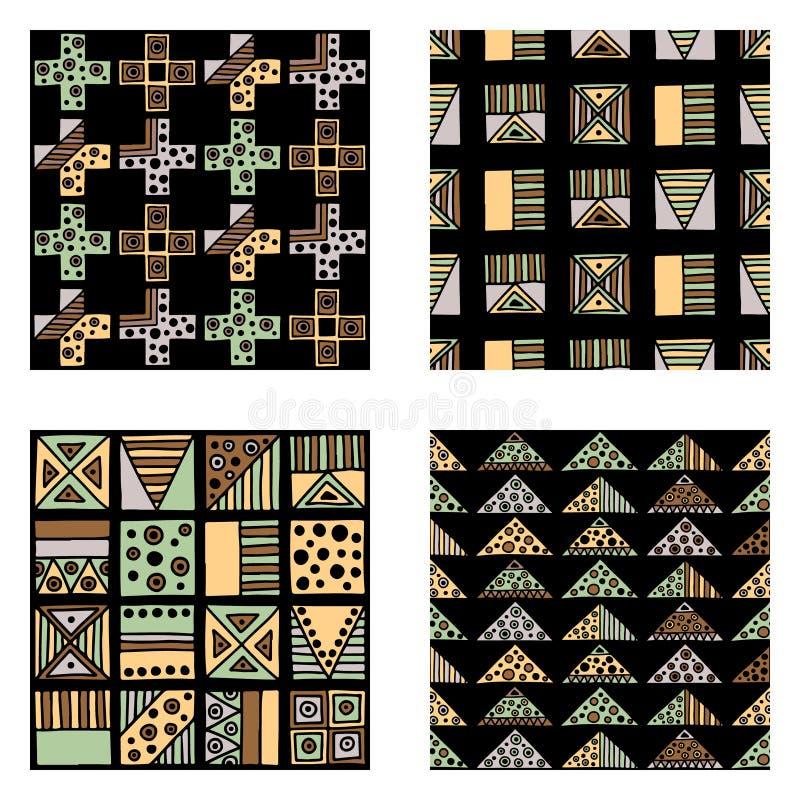 вектор картины безшовный ? eometrical предпосылка с элементами нарисованными рукой декоративными племенными, коричневыми цветами  иллюстрация штока