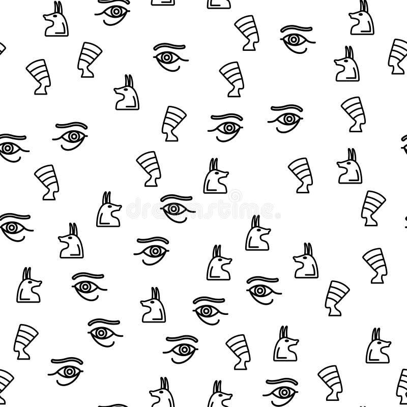 Вектор картины египетских старых символов безшовный иллюстрация вектора