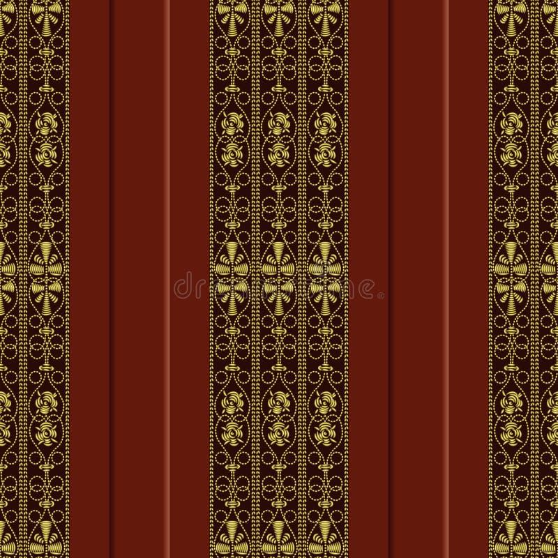 вектор картины золота вышивки безшовный иллюстрация вектора
