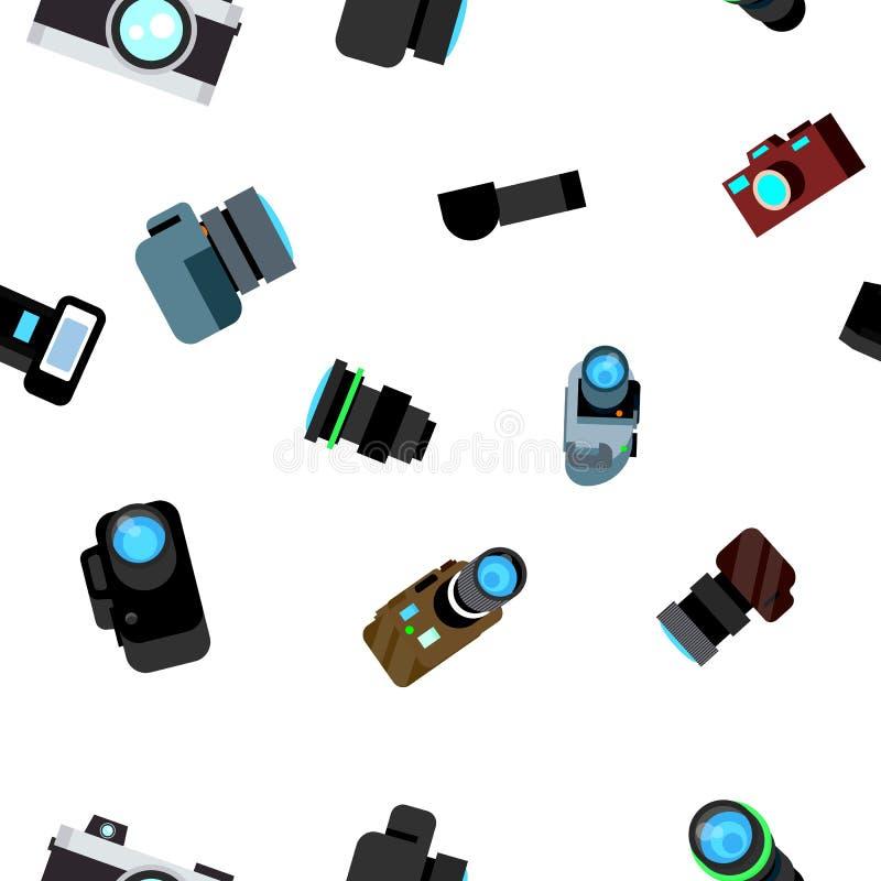 Вектор картины камеры фото безшовный Значок Photocamera ретро Путешествия Милая графическая текстура фон ткани шарж иллюстрация вектора