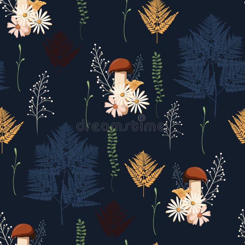 Вектор картины красивой темной осени безшовный с грибами, ягодами, папоротником, травами и листьями иллюстрация вектора