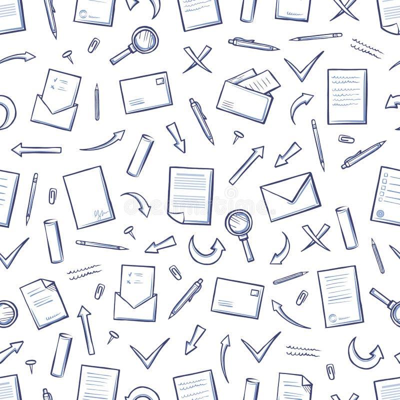 Вектор картины наконечников бумаги офиса безшовный иллюстрация вектора