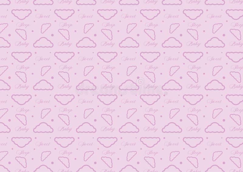 Вектор картины облака времени сна младенца безшовный польностью изменяемого размера editable в мягком пастельном фиолетовом цвете бесплатная иллюстрация