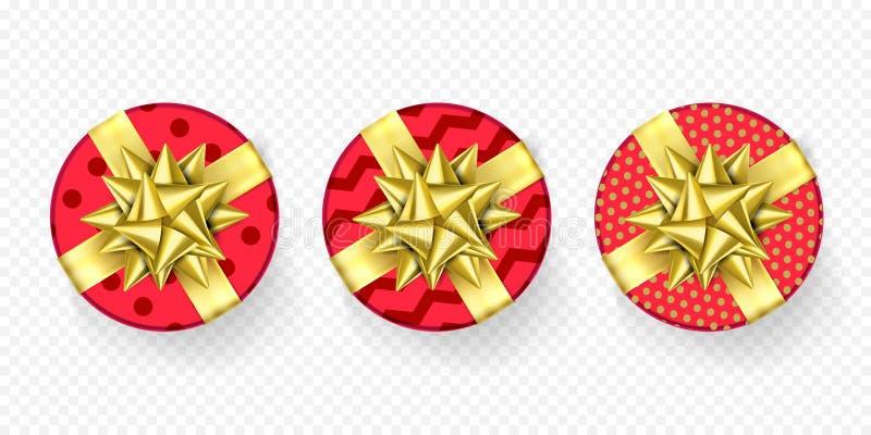 Вектор картины оболочки смычка ленты настоящего момента подарочной коробки рождества красный золотой изолировал комплект бесплатная иллюстрация