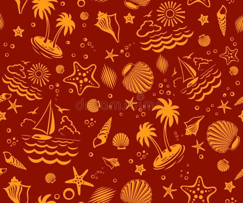 вектор картины пляжа безшовный иллюстрация штока