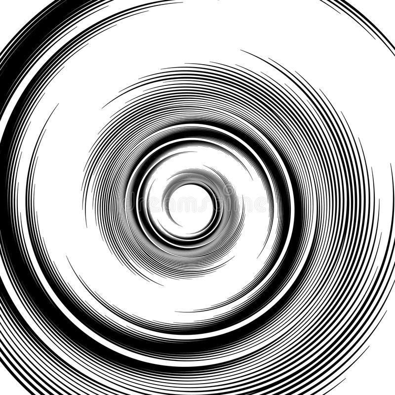 вектор картины спиральн Вортекс, визуальный эффект волюты - абстрактное monochro иллюстрация штока