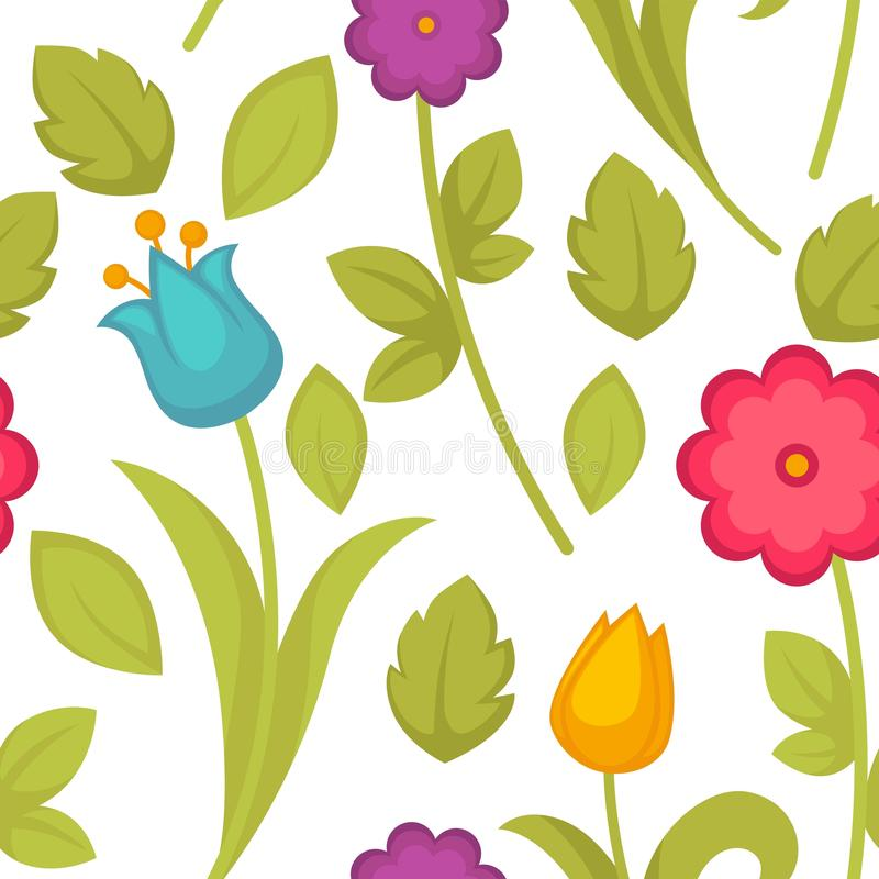 Вектор картины тюльпанов цветков весны праздника пасхи безшовный бесплатная иллюстрация