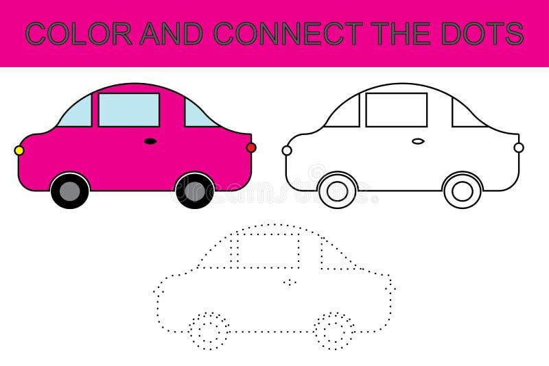 вектор картины шаржа автомобиля безшовный Страница расцветки соедините многоточия малыши игры также вектор иллюстрации притяжки c иллюстрация штока