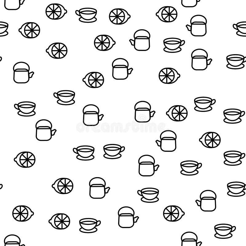 Вектор картины элементов посуды времени чая безшовный иллюстрация штока