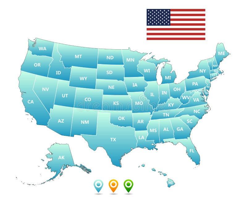 вектор карты америки соединенный положениями бесплатная иллюстрация