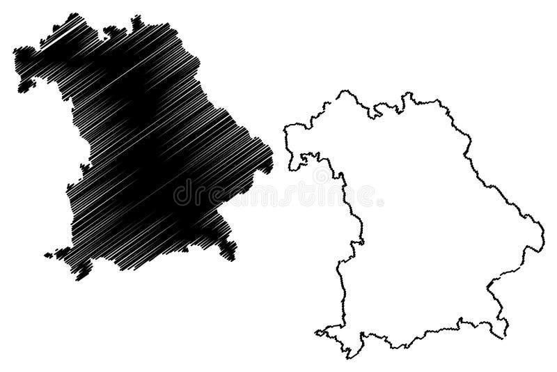 Вектор карты Баварии иллюстрация штока