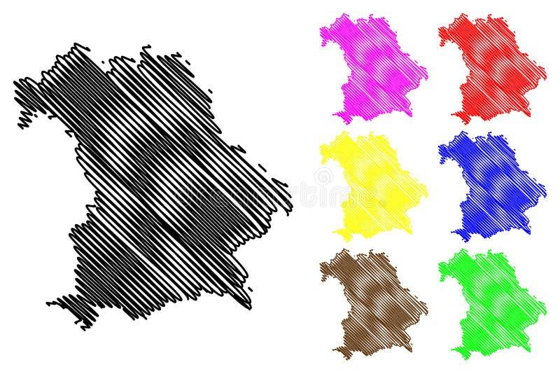 Вектор карты Баварии иллюстрация вектора