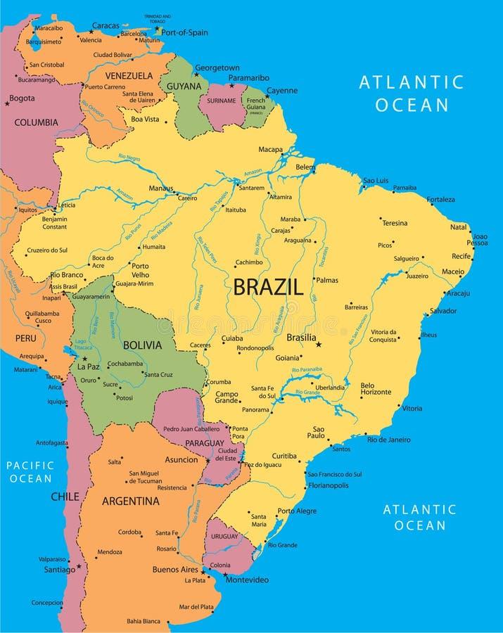 вектор карты Бразилии иллюстрация штока