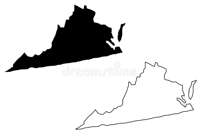 Вектор карты Вирджинии иллюстрация штока