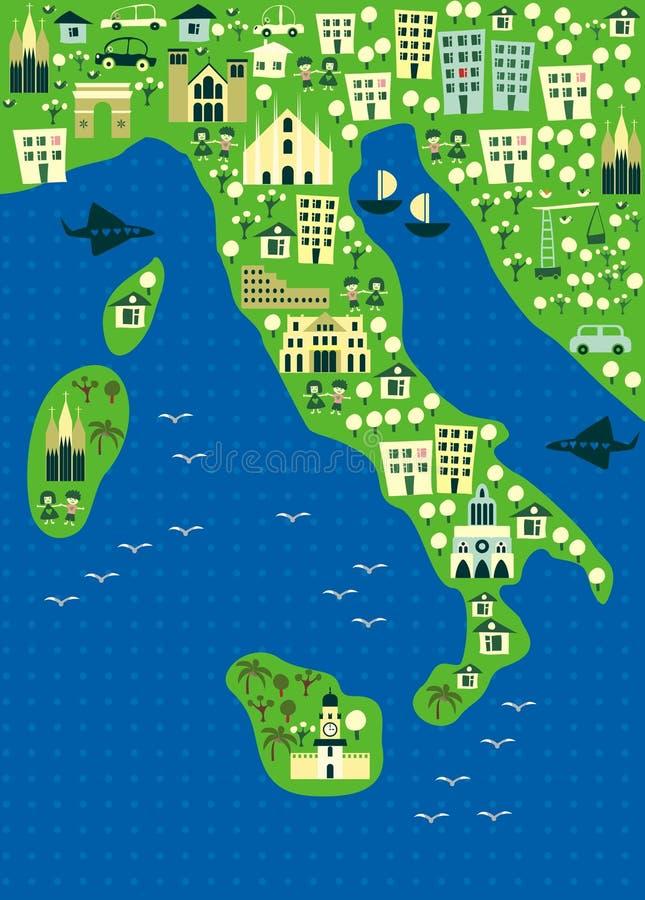 вектор карты Италии шаржа иллюстрация вектора