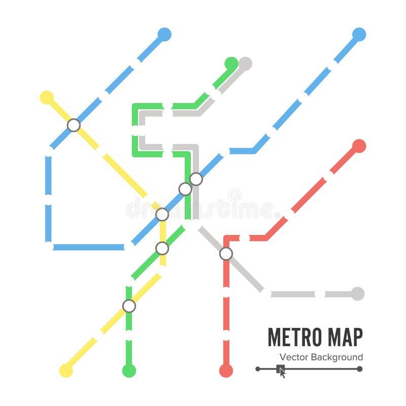 Вектор карты метро Шаблон дизайна карты метро Красочная предпосылка с станциями иллюстрация вектора