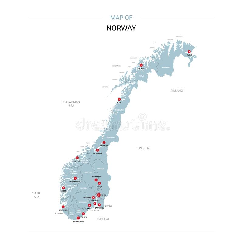Вектор карты Норвегии с красным штырем иллюстрация штока