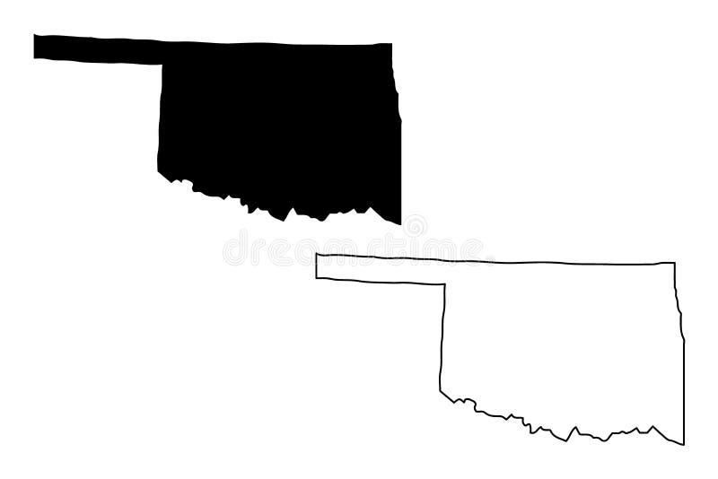 Вектор карты Оклахомы иллюстрация вектора