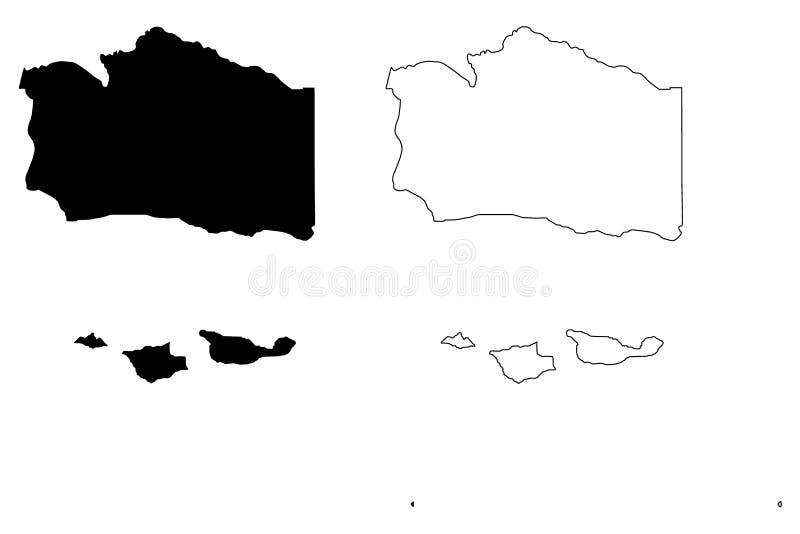 Вектор карты Santa Barbara County, Калифорния иллюстрация штока