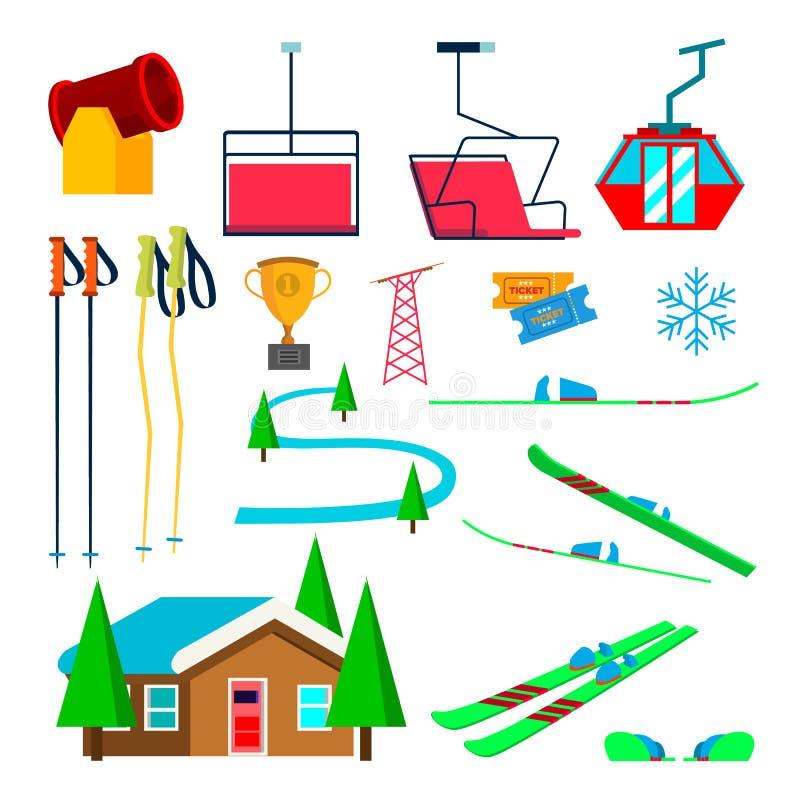 Вектор катания на лыжах установленный значками Аксессуары катания на лыжах Лыжи, оружие снега, снежинка, подъем, лифт, горы, стек иллюстрация штока