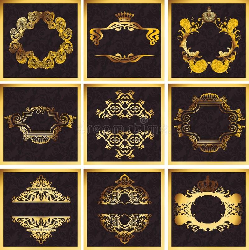 вектор квада декоративных рамок золотистый богато украшенный иллюстрация штока