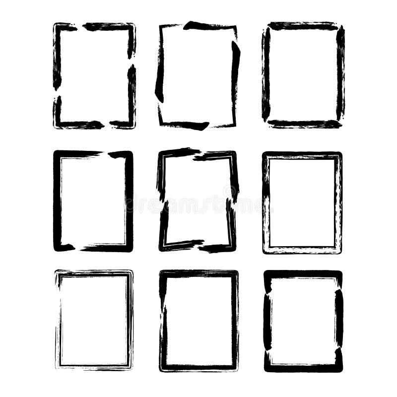 вектор квадрата комплектов чернил grunge щетки граници иллюстрация штока