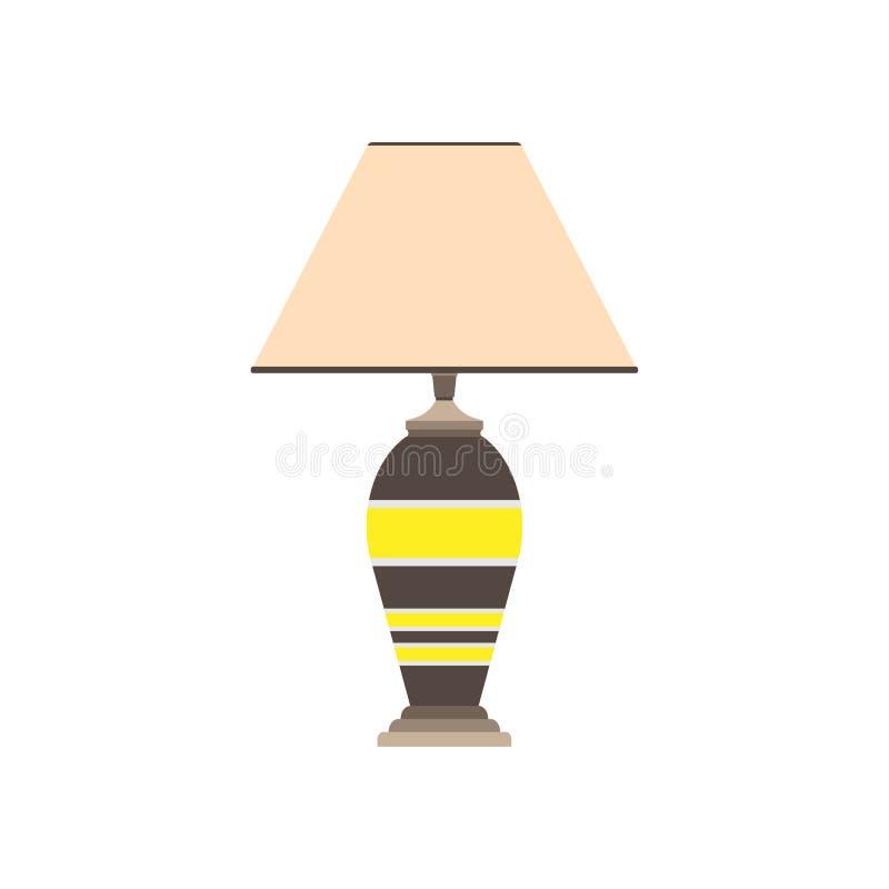 Вектор квартиры лампы плоской кровати Дом мебели живущей комнаты постельных принадлежностей внутренний Дизайн иллюстрации ночи де иллюстрация вектора