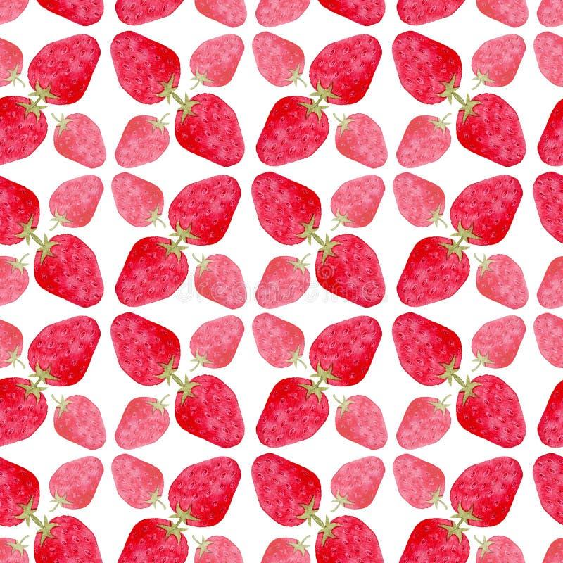 вектор клубники картины иллюстрации красный безшовный Милая предпосылка в акварели Комплексное конструирование или упаковочная бу иллюстрация штока
