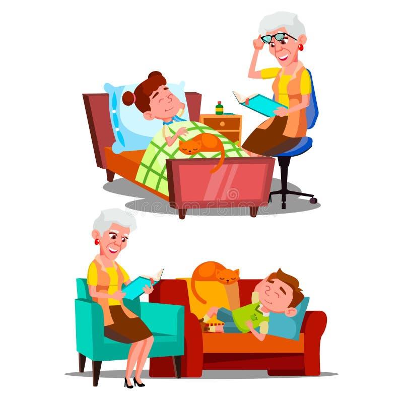 Вектор книги рассказа Nighttime бабушки читая бесплатная иллюстрация