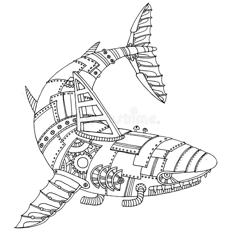 Вектор книжка-раскраски акулы стиля пара панковский иллюстрация вектора