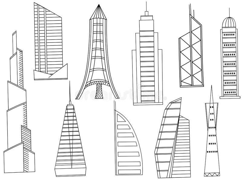Вектор книжка-раскраски высоких зданий иллюстрация вектора