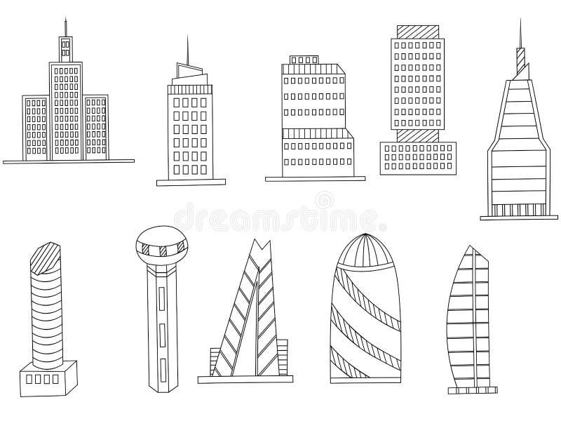 Вектор книжка-раскраски высоких зданий бесплатная иллюстрация