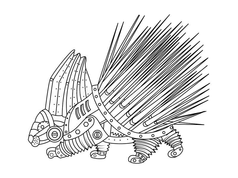 Вектор книжка-раскраски дикобраза стиля Steampunk иллюстрация вектора