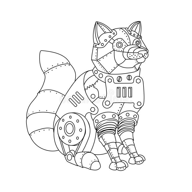 Вектор книжка-раскраски лисы стиля Steampunk иллюстрация штока