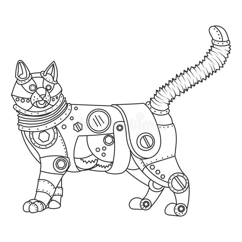 Вектор книжка-раскраски кота стиля Steampunk иллюстрация вектора