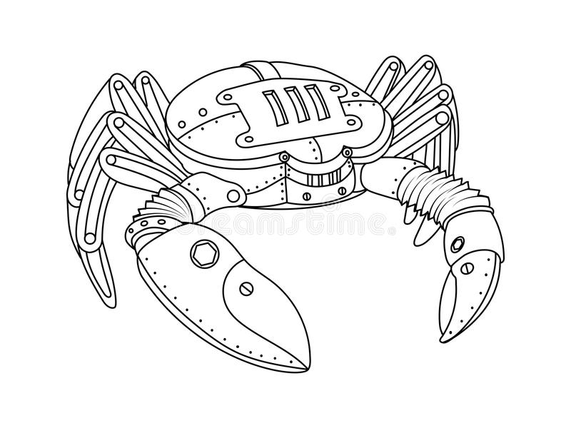 Вектор книжка-раскраски краба стиля Steampunk иллюстрация штока