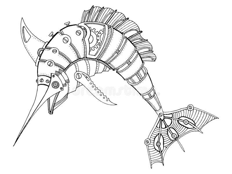 Вектор книжка-раскраски меч-рыб стиля Steampunk иллюстрация вектора