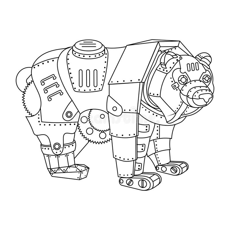 Вектор книжка-раскраски медведя стиля Steampunk иллюстрация вектора