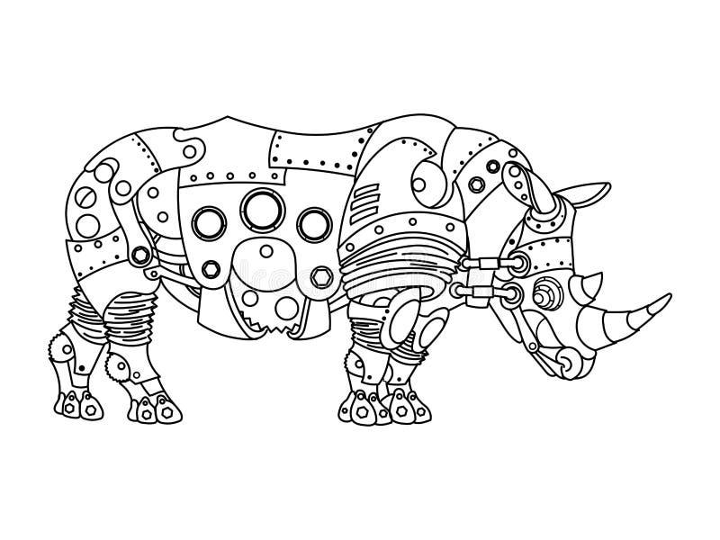 Вектор книжка-раскраски носорога стиля Steampunk иллюстрация вектора