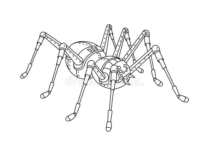 Вектор книжка-раскраски паука стиля Steampunk иллюстрация штока