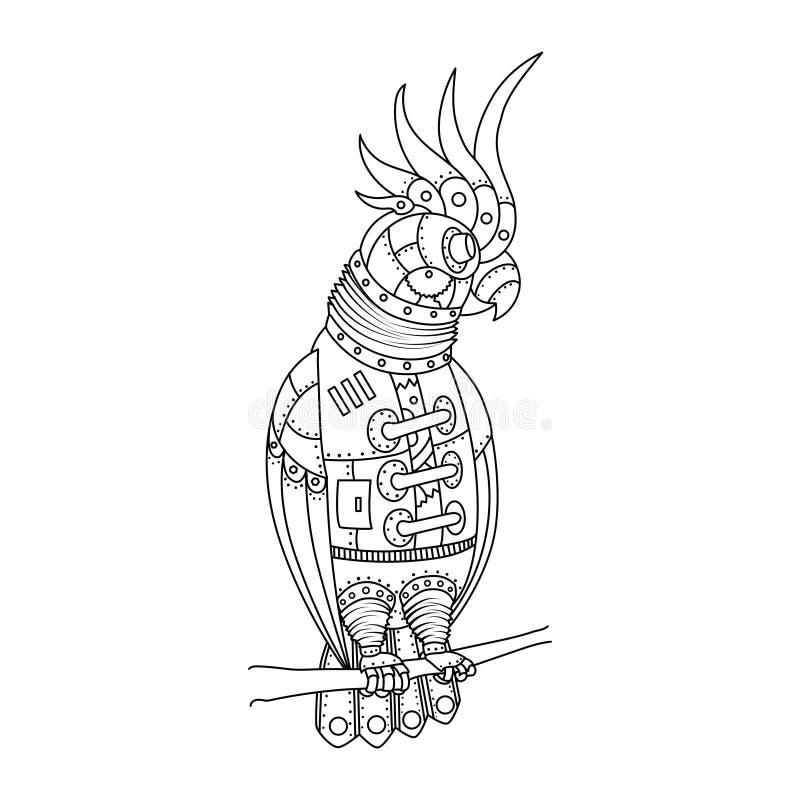 Вектор книжка-раскраски попугая стиля Steampunk бесплатная иллюстрация