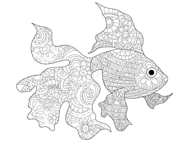Вектор книжка-раскраски рыбки для взрослых бесплатная иллюстрация
