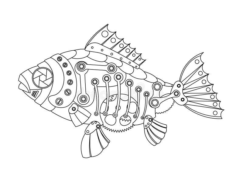 Вектор книжка-раскраски рыб стиля Steampunk бесплатная иллюстрация