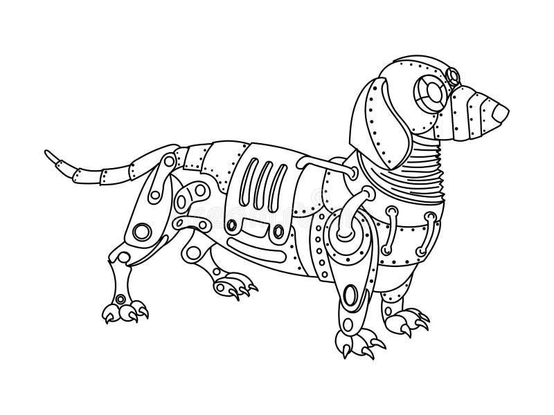 Вектор книжка-раскраски собаки таксы стиля Steampunk иллюстрация вектора