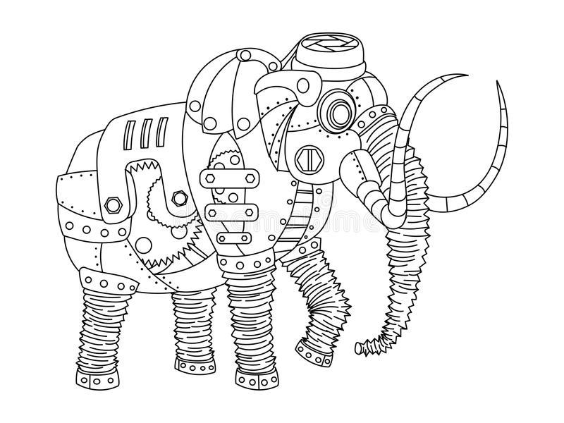 Вектор книжка-раскраски стиля Steampunk мамонтовый иллюстрация штока