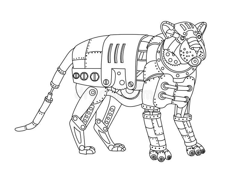 Вектор книжка-раскраски тигра стиля Steampunk бесплатная иллюстрация
