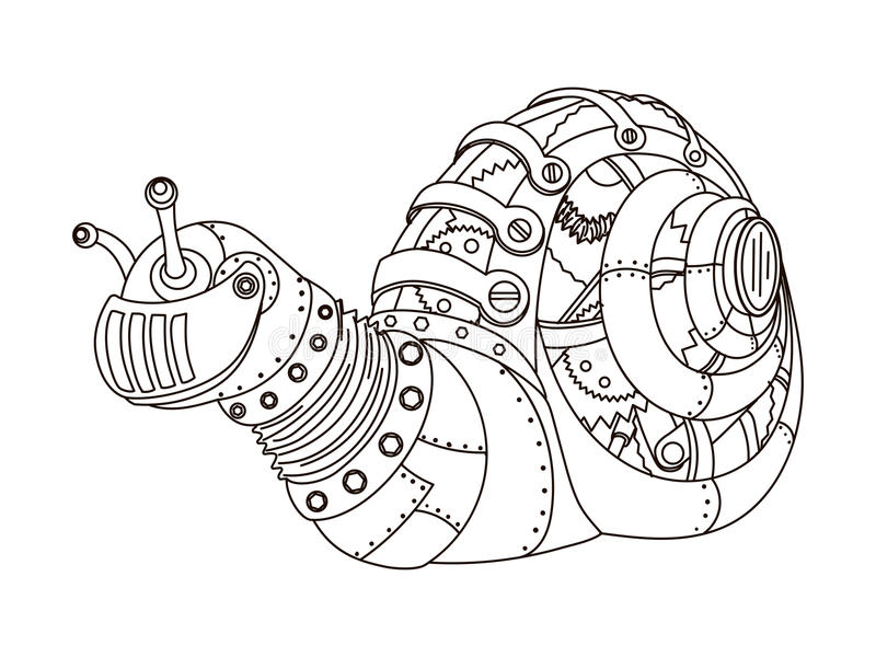 Вектор книжка-раскраски улитки стиля Steampunk иллюстрация вектора