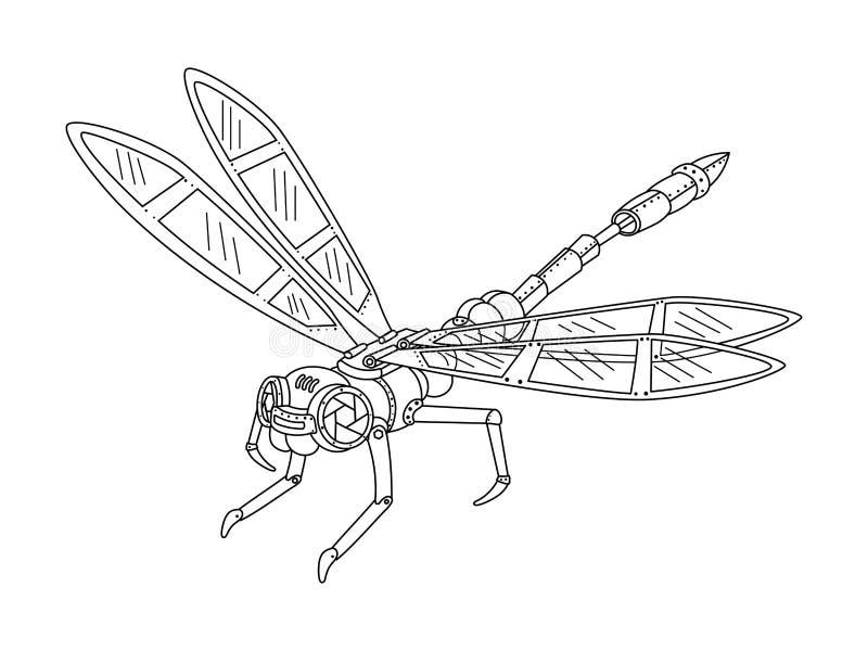 Вектор книжка-раскраски dragonfly стиля Steampunk бесплатная иллюстрация